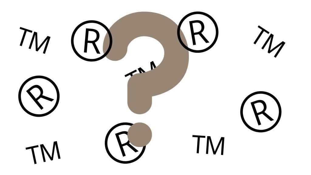 graphic of trademark and restricted symbols overlaid with large question mark